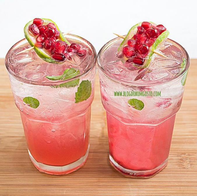 Drink refrescante de Romã (sem álcool)